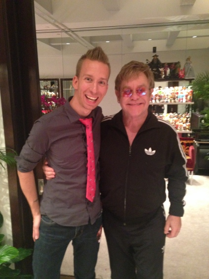 Elton and J.Son backstage in Vegas