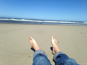 My feet in the sand at Ocean Beach.