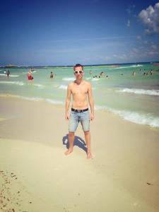 Working on my tan in Playa del Carmen.